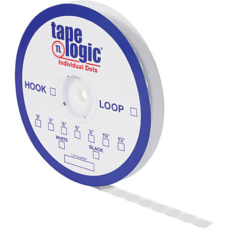 "Tape Logic® Individual Tape Dots, Hooks, 0.38"", White, Case Of 1,800"
