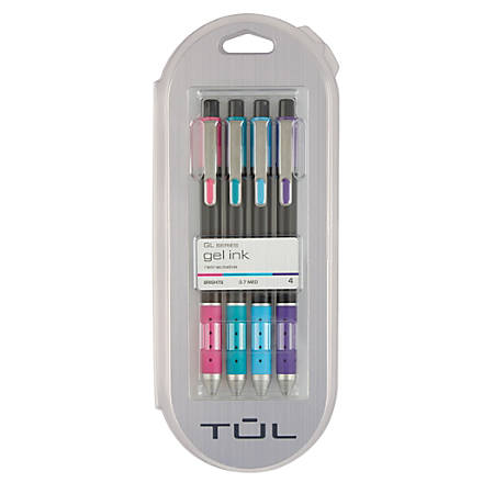 TUL® Limited Edition Brights Retractable Gel Pens, Medium Point, 0.7 mm, Assorted Barrel Colors, Assorted Ink Colors, Pack Of 4