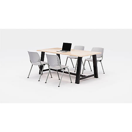KFI Studios Midtown Table With 4 Stacking Chairs, Kensington Maple/Light Gray