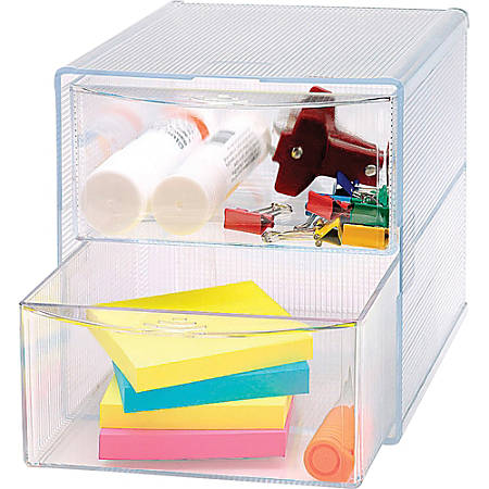 "Sparco® 2-Drawer Storage Organizer, 6""H x 6""W x 6""D, Clear"