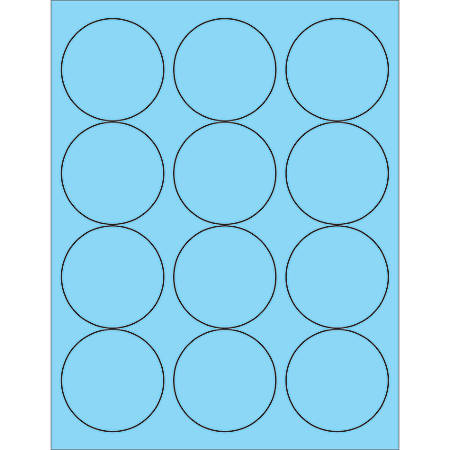 "Office Depot® Brand Labels, LL194BE, Circle, 2 1/2"", Pastel Blue, Case Of 1,200"
