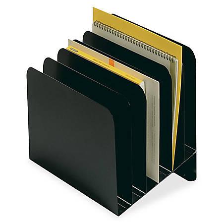 STEELMASTER® Slanted Organizer With Round Edges, 6 Slots, Black