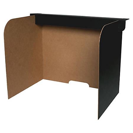 "Flipside Fold/Lock Desktop Privacy Screen - 47"" Width x 12"" Height - Corrugated - Black, Brown"