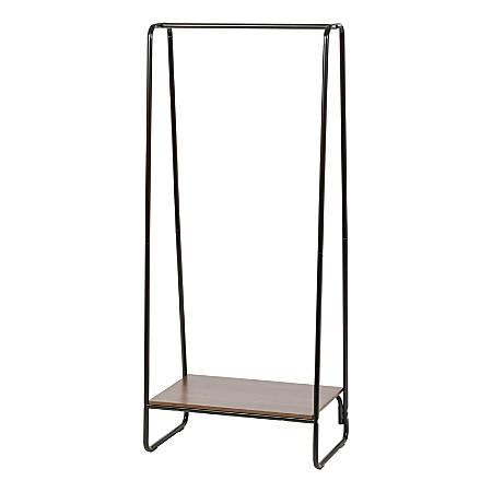 "IRIS Metal Garment Rack With Wood Shelf, 59""H x 25-3/16""W x 15-3/4""D, White/Dark Brown"