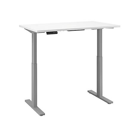 "Bush Business Furniture Move 60 Series 48""W x 30""D Height Adjustable Standing Desk, White/Cool Gray Metallic, Premium Installation"