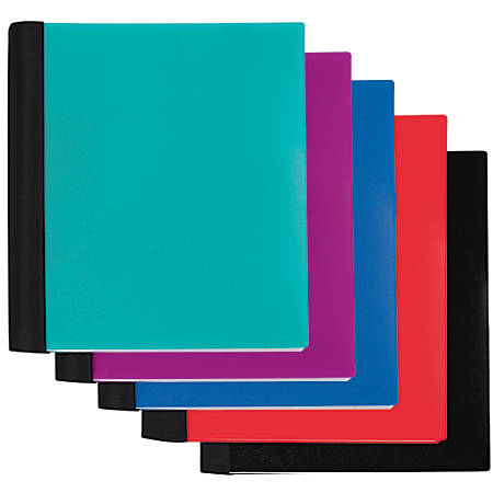 "Office Depot® Brand Spiral Stellar Poly Notebook, 9"" x 11"", 3 Subject, College Ruled, 150 Sheets, 57% Recycled, Assorted Colors"