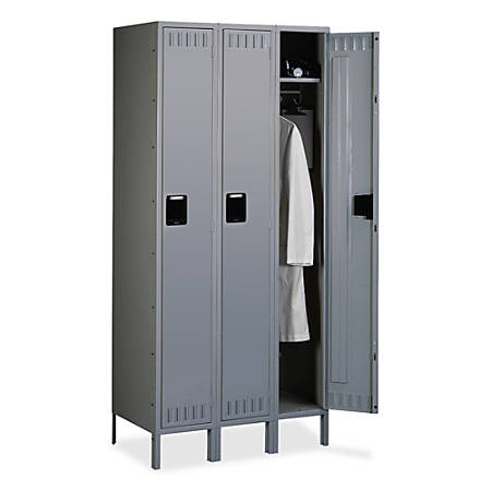"Tennsco Single-Tier 3-Wide Locker With Legs, 78""H x 36""W x 18""D, Medium Gray"