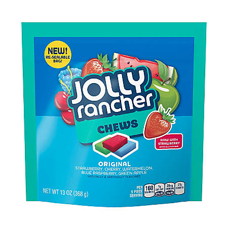 Jolly Rancher Chews Candy, 13 Oz Bag, Assorted Flavors, Pack Of 4