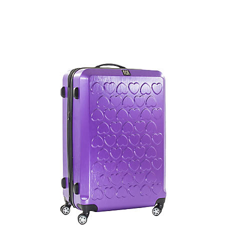 "ful Hearts Upright Rolling Suitcase, 21""H x 14""W x 9""D, Purple"