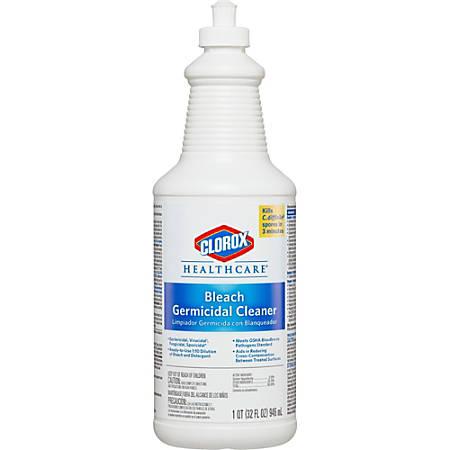 Clorox Healthcare Bleach Germicidal Cleaner - Ready-To-Use Liquid - 0.25 gal (32 fl oz) - 180 / Bundle - White