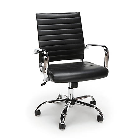 Essentials By OFM Ribbed Bonded Leather High-Back Chair, Black/Black