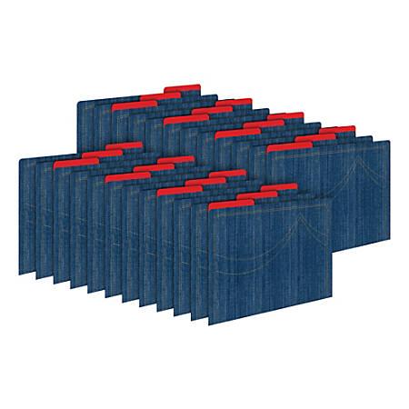 Barker Creek Tab File Folders, Letter Size, Denim, Pack Of 24 Folders