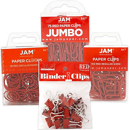 JAM Paper® 4-Piece Office Clip Fastener Set, Red