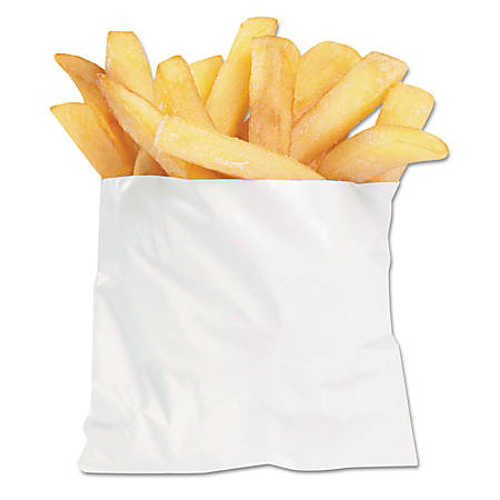 "Bagcraft PB3 French Fry Bags, 3 1/2"" x 4 1/2"", White, Carton Of 2,000 Bags"