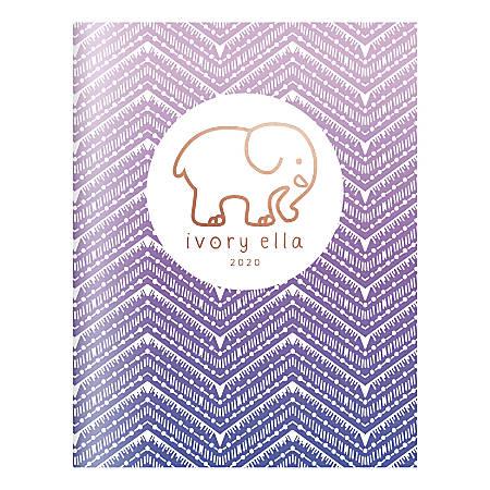 "Cambridge® Ivory Ella Ombre Chevron Monthly Planner, 8-1/2"" x 11"", White/Purple, January To December 2020, 1289-091"