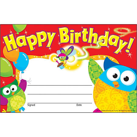 """Trend Happy Birthday Owl-Stars Recognition Awards - 8.50"""" x 5.50"""" - Multicolor30 / Pack"""