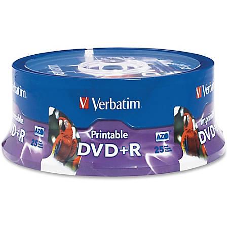 Verbatim - DVD+R 4.7GB 16X White Inkjet Printable, Hub Printable 25pk Spindle