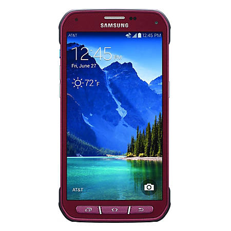 Samsung Galaxy S5 Active G870A Refurbished Cell Phone, Ruby Red, PSU100648