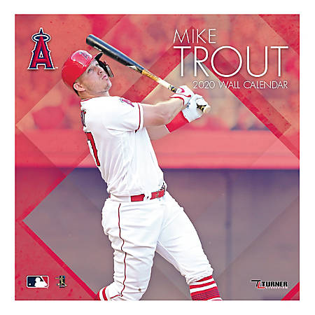 """Turner Licensing Monthly Wall Calendar, 12"""" x 12"""", Mike Trout, 2020"""