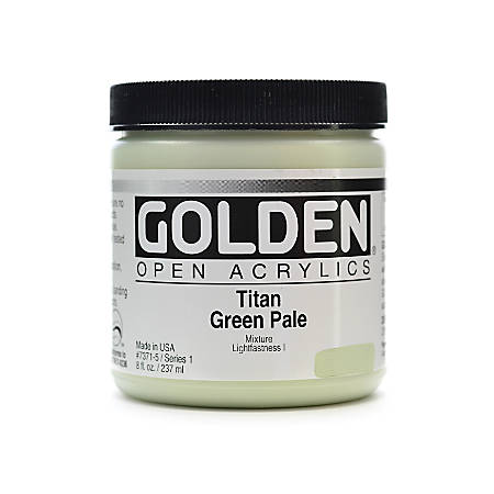 Golden OPEN Acrylic Paint, 8 Oz Jar, Titan Green Pale