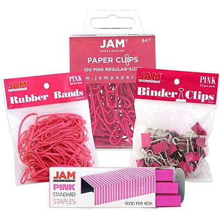 JAM Paper® 4-Piece Desk Supply Kit, Pink