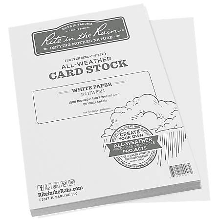 "Rite In The Rain All-Weather Card Stock, 8-1/2"" x 11-3/4"", White, 80 Sheets Per Ream"
