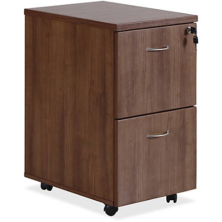 "Lorell® Essentials Series 22""D 2-Drawer Mobile Pedestal File Cabinet, Walnut"