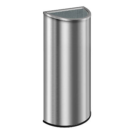 "Suncast Commercial Accent Series Decorative Crescent Metal Trash Can, 12 Gallons, 32-3/4""H x 16-7/16""W x 8-7/16""D, Stainless Steel"
