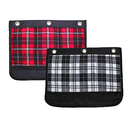 """Inkology Plaid Binder Pencil Pouches, 10""""H x 4-1/2""""W x 1""""D, Assorted Colors, Pack Of 6 Pouches"""