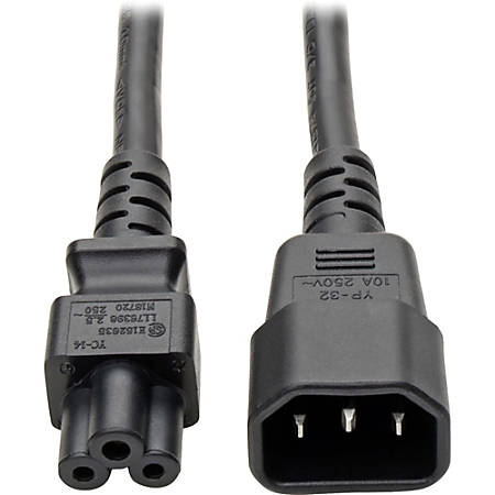 """Tripp Lite 6in Laptop Power Cord Adapter Cable C14 to C5 2.5A 18AWG 6"""" - 2.5A, 18AWG (IEC-320-C14 to IEC-320-C5) 6-in."""""""