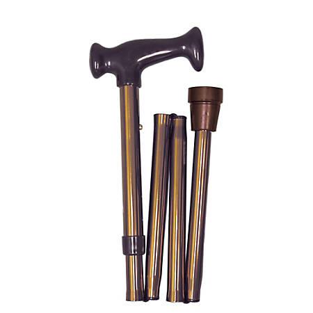 "HealthSmart® Adjustable Ergonomic-Handle Aluminum Folding Cane, 37"", Bronze"