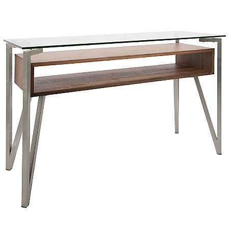 Lumisource Hover Contemporary Console Table, Rectangular, Brushed Stainless Steel