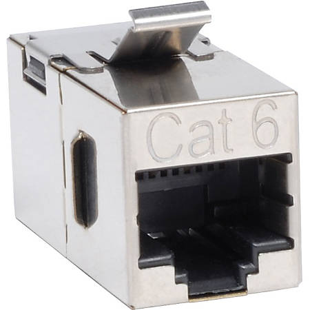 "Tripp Lite Cat6 Straight Through Shielded Modular In-line ""Snap-in"" Coupler (RJ45 F/F) - Silver - Gold"