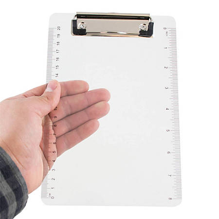 "JAM Paper® Plastic Mini Clipboard, 6"" x 9"", Clear"