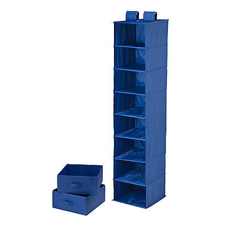 "Honey-Can-Do 8-Shelf Hanging Vertical Closet Organizer With 2-Pack Drawers, 54""H x 12""W x 12""D, Navy"