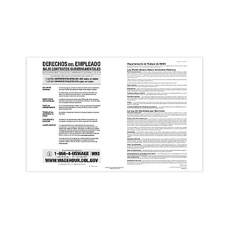 """ComplyRight Federal Contractor Posters, Spanish, Walsh-Healey Public/Service Contracts, 11"""" x 17"""""""