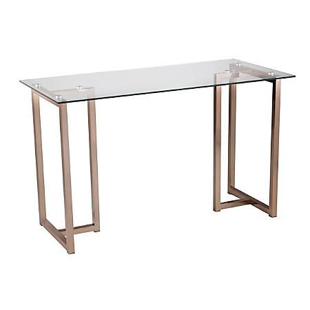"Holly & Martin Haxor Metal/Glass 48""W Desk, Champagne"