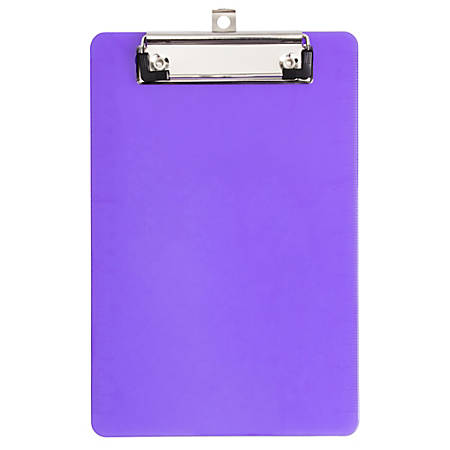 "JAM Paper® Plastic Mini Clipboard, 6"" x 9"", Purple"