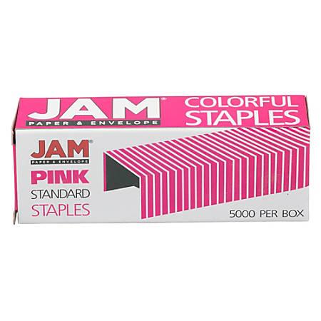 """JAM Paper® Standard Staples, 1/2"""" Full Strip, Pink, Box Of 5,000 Staples"""