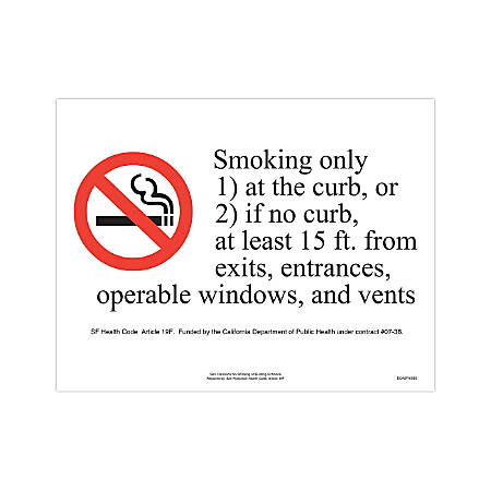 """ComplyRight City & County Specialty Posters, English, San Francisco, No Smoking At Building Entrance, 8 1/2"""" x 11"""""""