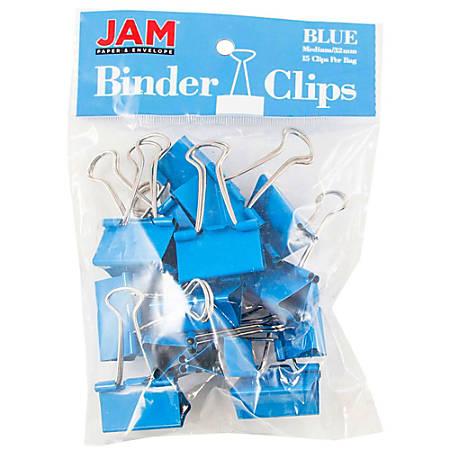 "JAM Paper® Designer Binder Clips, Medium, 3/4"" Capacity, Blue, Bag Of 15 Clips"