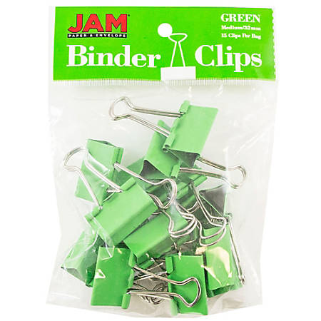 "JAM Paper® Designer Binder Clips, Medium, 3/4"" Capacity, Green, Bag Of 15 Clips"