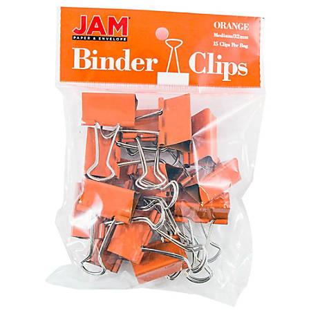 "JAM Paper® Designer Binder Clips, Medium, 3/4"" Capacity, Orange, Bag Of 15 Clips"