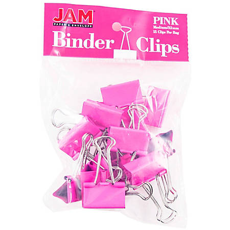 "JAM Paper® Designer Binder Clips, Medium, 3/4"" Capacity, Pink, Bag Of 15 Clips"