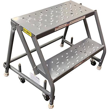 "Louisville 2-step Steel Warehouse Ladder - 2 Step - 450 lb Load Capacity - 19"" x 28"" x 20"" - Gray"