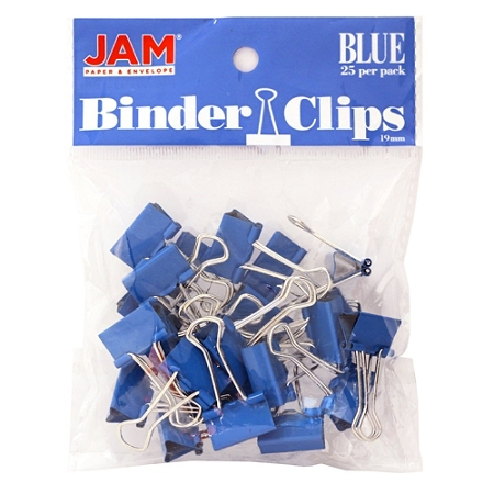 "JAM Paper® Designer Binder Clips, Small, 1/2"" Capacity, Blue, Bag Of 25 Clips"