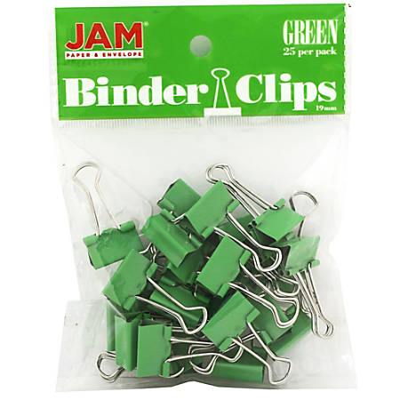 "JAM Paper® Designer Binder Clips, Small, 1/2"" Capacity, Green, Bag Of 25 Clips"