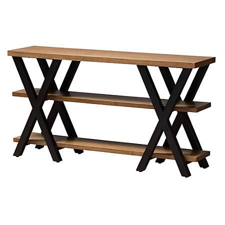 Baxton Studio Ricardo Console Table, Oak/Dark Bronze