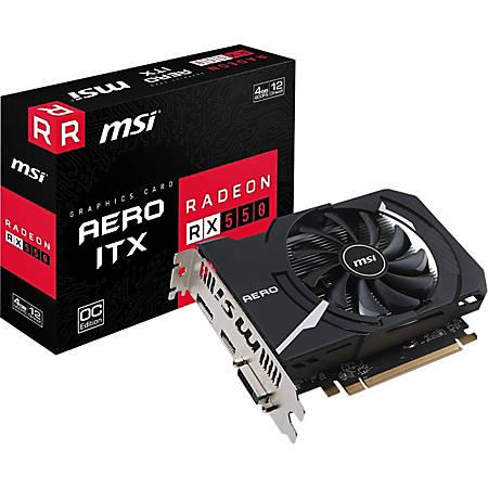 MSI RX 550 AERO ITX 4G OC AMD PCI-E Graphic Card - 128 bit Bus Width - DisplayPort - HDMI - DVI