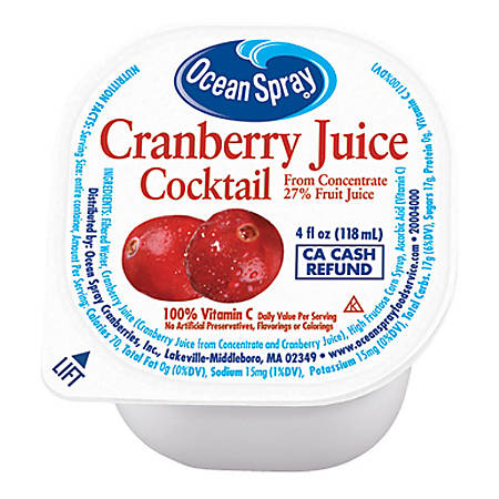 Ocean Spray Cranberry Juice, 4 Oz, Pack Of 48 Cups